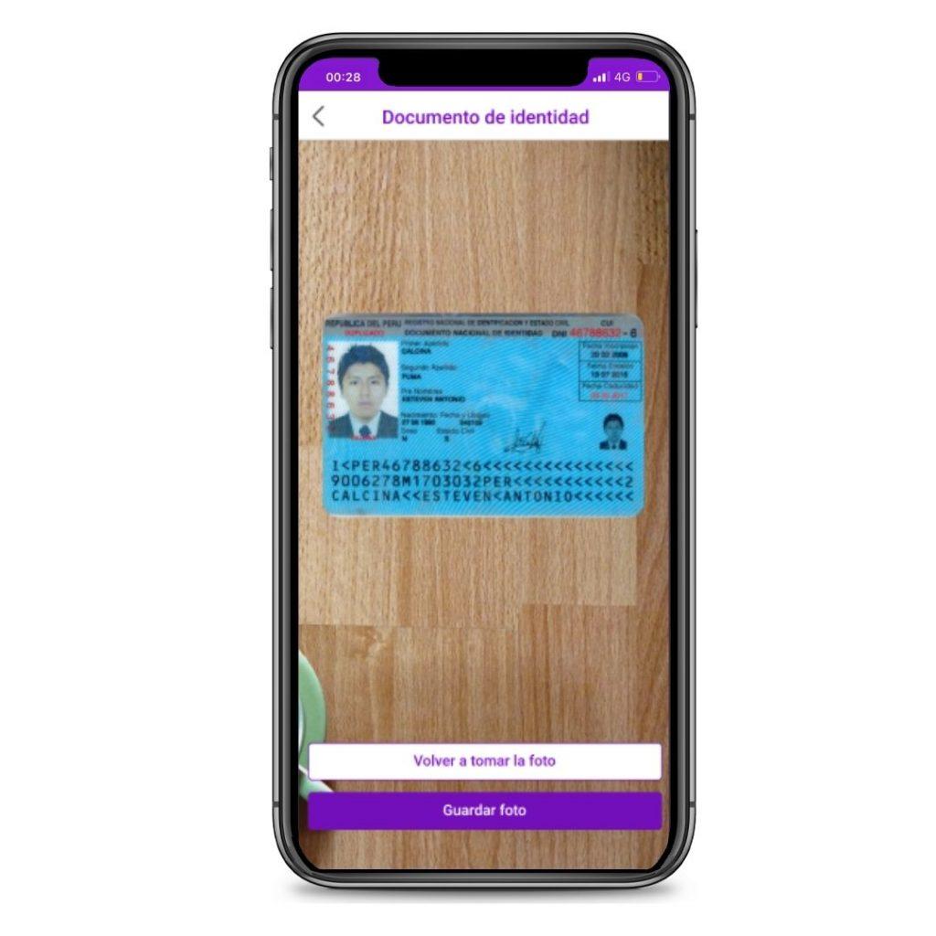 Paso 3: Verifica que la foto de tu documento de identidad del lado de frente esté nítida, completa y legible.