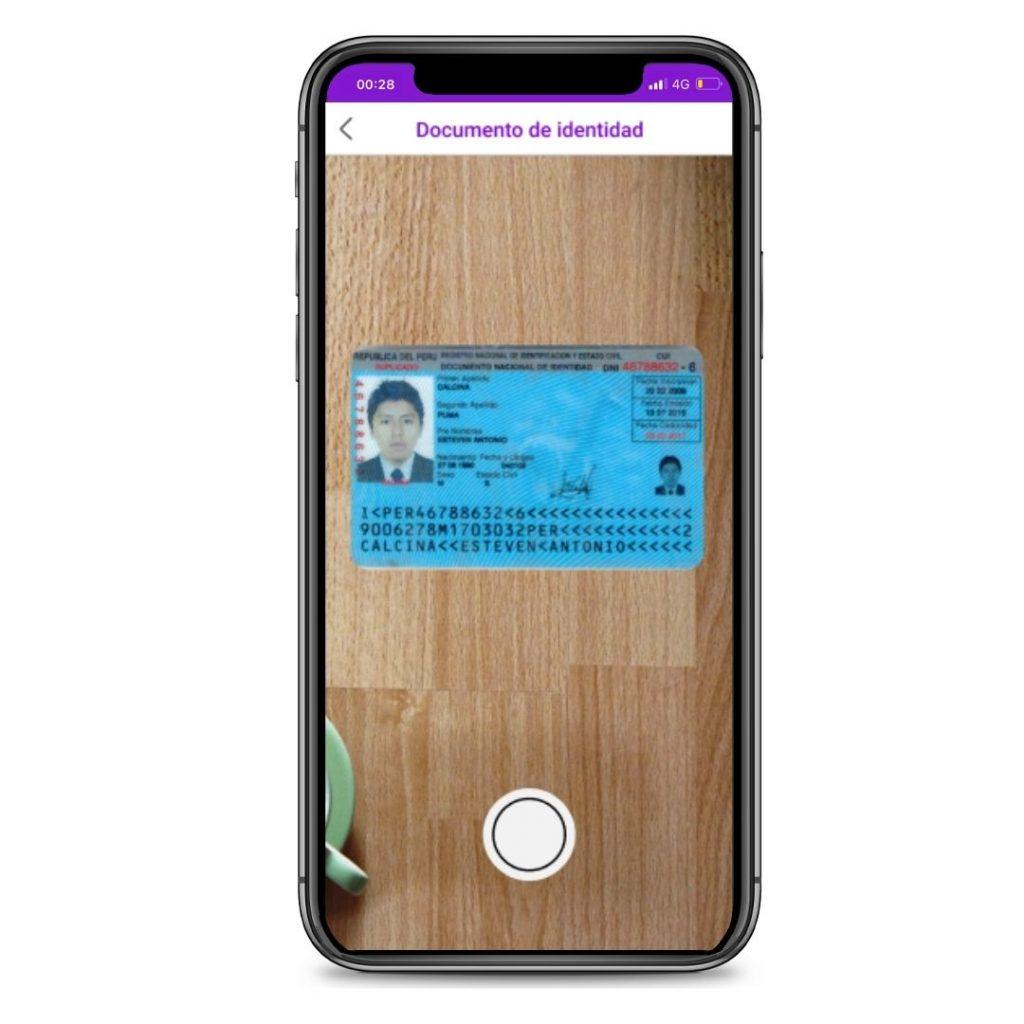Paso 2: Tomar foto a tu documento de identidad del lado de frente.