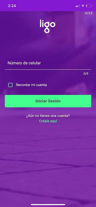 Paso 1 - iniciar sesión en app Ligo